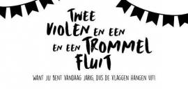 Wenskaart | Twee Violen En Een Trommel En Een Fluit