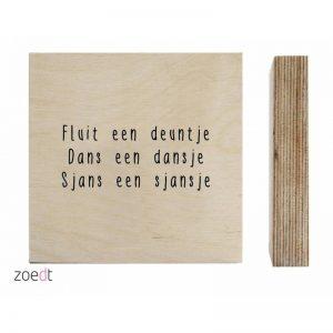 Houtprint Fluit een deuntje..